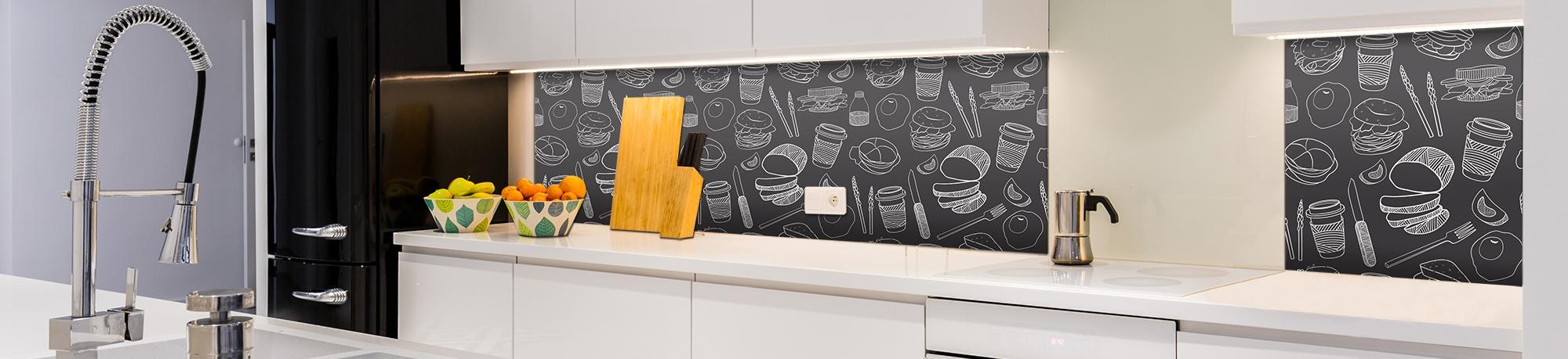 k chenr ckwand aus glas glas nach ma. Black Bedroom Furniture Sets. Home Design Ideas